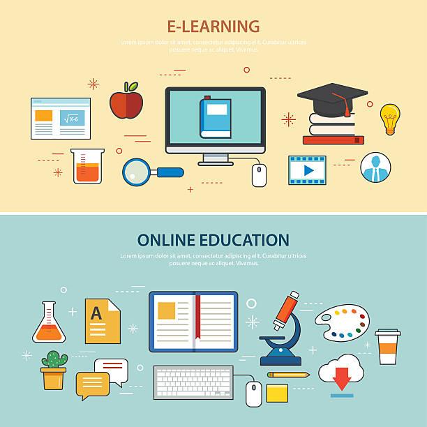 stockillustraties, clipart, cartoons en iconen met online education and e-learning banner flat design template - e learning