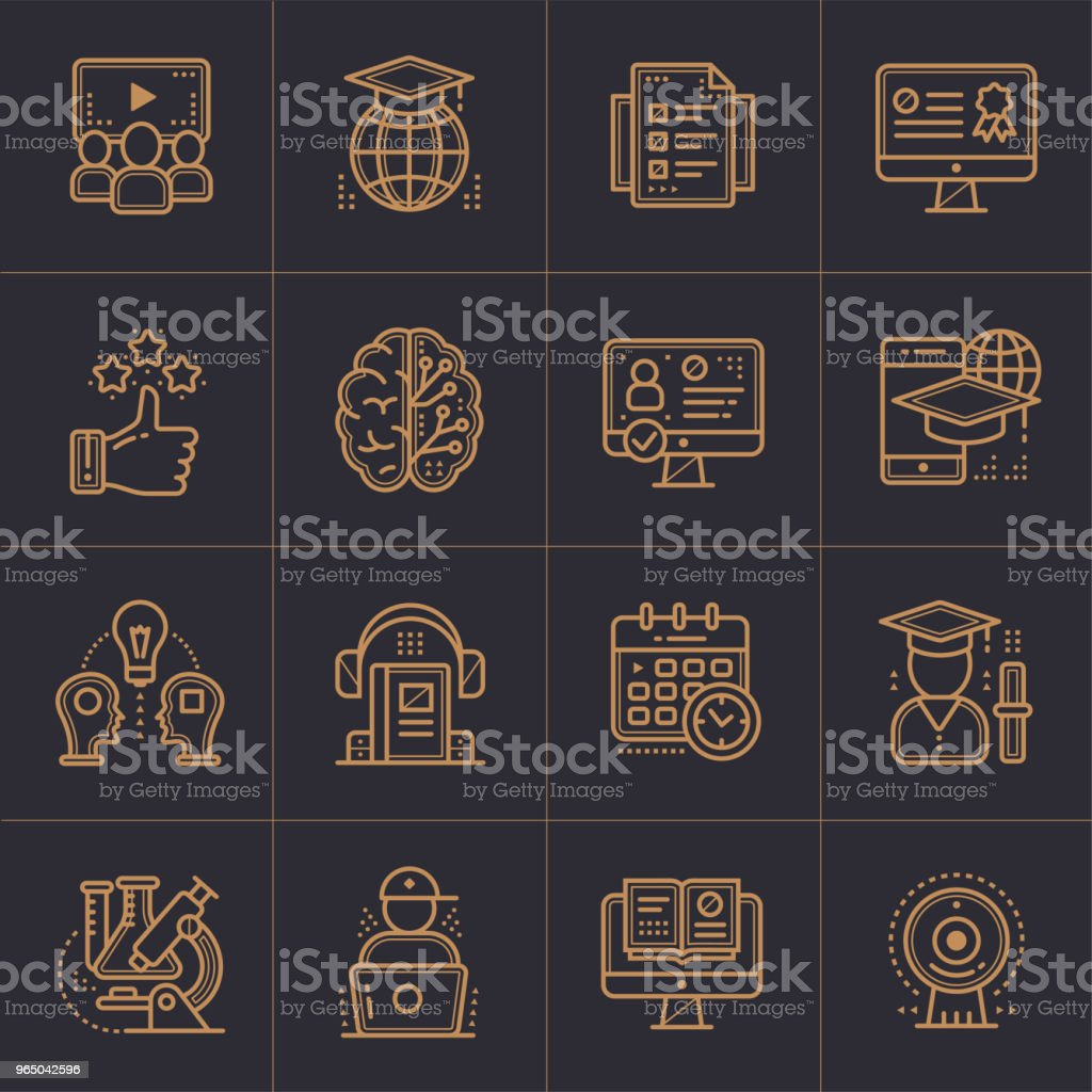 Online education and e-learning vector icons set. Suitable for banner, mobile application, website. royalty-free online education and elearning vector icons set suitable for banner mobile application website stock vector art & more images of business