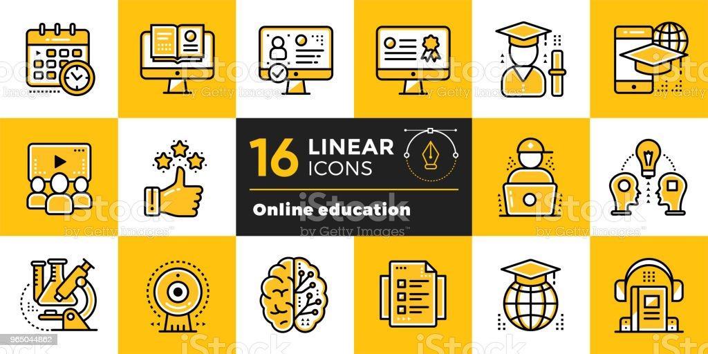 Online education and e-learning vector icons set. Suitable for banner, mobile application, website. online education and elearning vector icons set suitable for banner mobile application website - stockowe grafiki wektorowe i więcej obrazów biznes royalty-free
