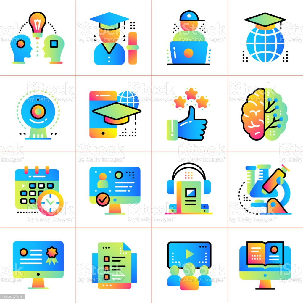 Online education and e-learning vector icons set. Suitable for print, presentation, website. online education and elearning vector icons set suitable for print presentation website - stockowe grafiki wektorowe i więcej obrazów biznes royalty-free