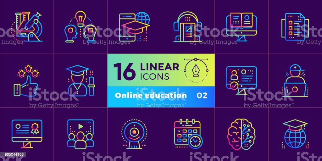 Online education and e-learning vector icons set. Suitable for print, presentation, website. royalty-free online education and elearning vector icons set suitable for print presentation website stock vector art & more images of business