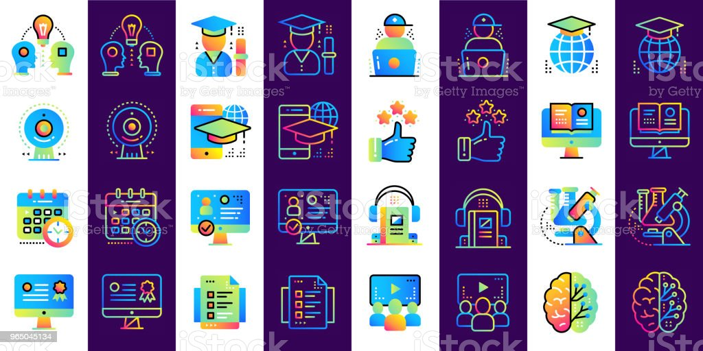 Online education and e-learning vector icons set. Suitable for print, presentation, website. online education and elearning vector icons set suitable for print presentation website - stockowe grafiki wektorowe i więcej obrazów biznes royalty-free
