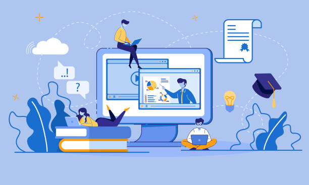 Online Education and E-Learning via Digital Device Online Education, E-Learning, E-Library via Digital Device. Educational Application, Video Tutorials. Cartoon Students Use Laptop and Wi-Fi. Electronic Graduation Certificate. Vector Flat illustration training stock illustrations