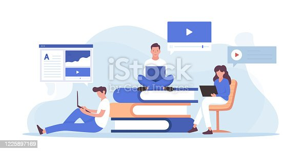 istock Online Education and Home Schooling Related Vector Flat Illustration Design 1225897169