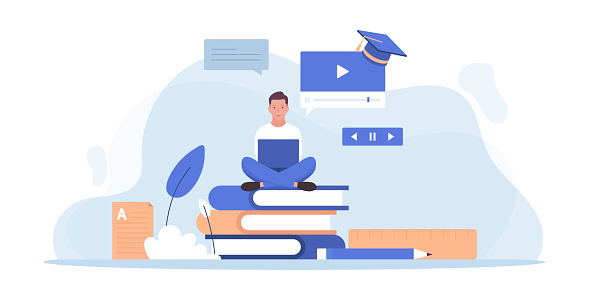 Online Education and Home Schooling Related Vector Flat Illustration Design