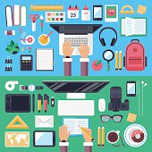 Online education and mobile e-learnig concept with flat icons