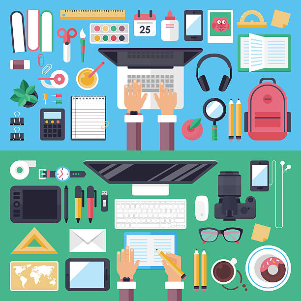 online education and mobile e-learnig concept with flat icons - schultische stock-grafiken, -clipart, -cartoons und -symbole