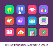 Online Education App Style Icons