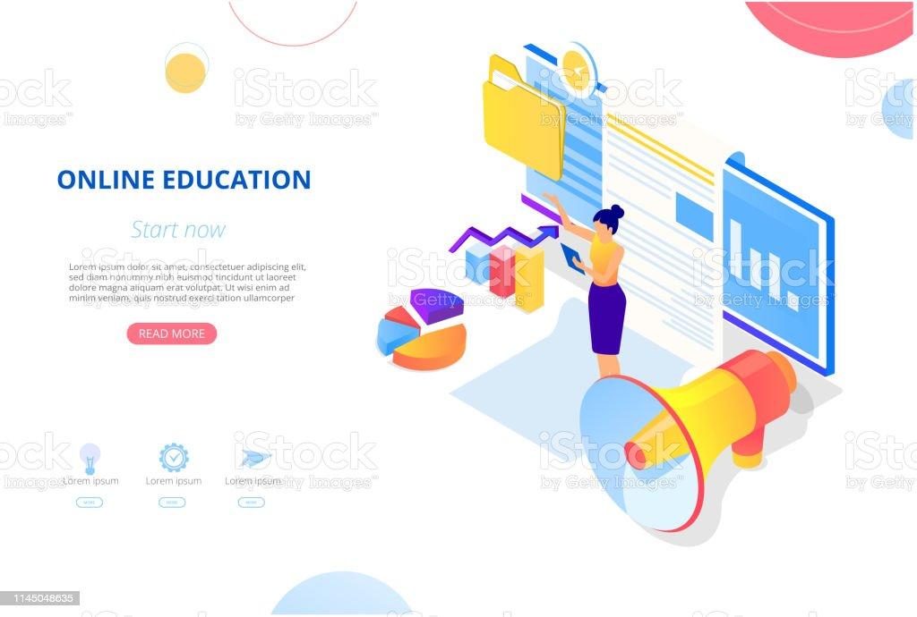 dd0bd2a063a4 Ilustración de Educación En Línea Plantilla De Fondo O Página De ...