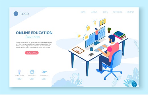 Online education. Background or homepage template with man studying remotely, flat style.