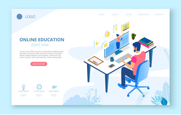 online education. background or homepage template with man studying remotely, flat style. - online learning stock illustrations