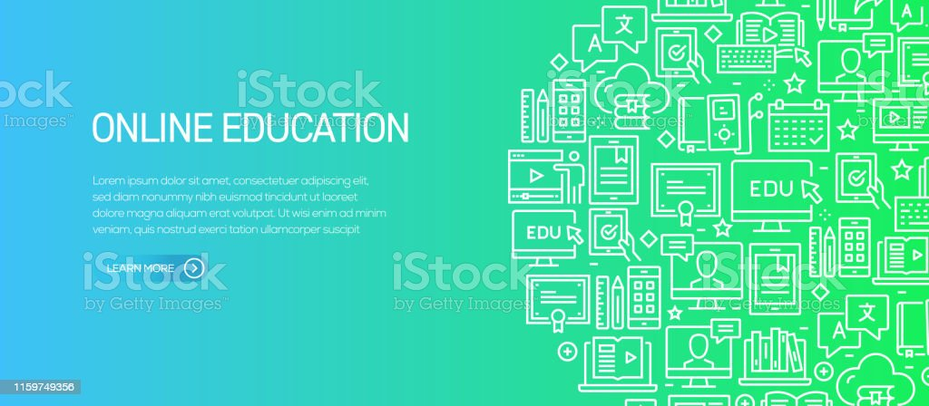 Online Education Banner Template With Line Icons Modern Vector Illustration For Advertisement Header Website Stock Illustration Download Image Now Istock