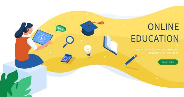 bildbanksillustrationer, clip art samt tecknat material och ikoner med banner för onlineutbildning - digital device classroom