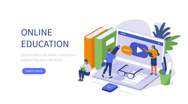 online education banner People Character Standing near Office Desk with Laptop, Books and Other Studying Supplies. Training Courses and Tutorials. Online Education and E-Learning Concept. Flat Isometric Vector illustration. training stock illustrations
