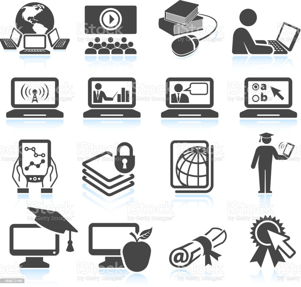 Online education black & white royalty free vector icon set vector art illustration