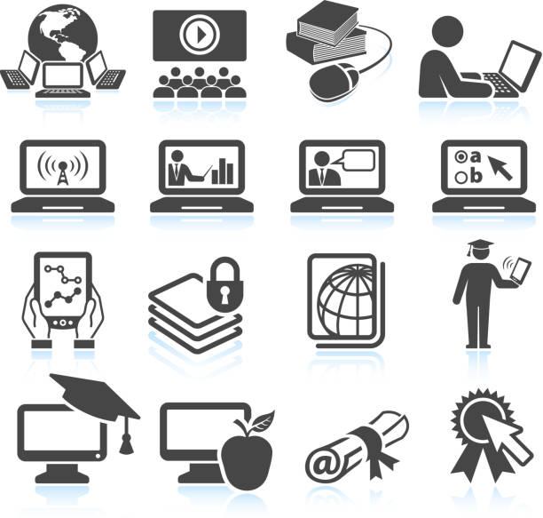 オンライン教育ブラック&ホワイトのロイヤリティフリーのベクターアイコンセット - 作文の授業点のイラスト素材/クリップアート素材/マンガ素材/アイコン素材