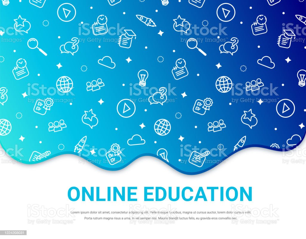 Online Education Blue Background Banner Stock Illustration Download Image Now Istock