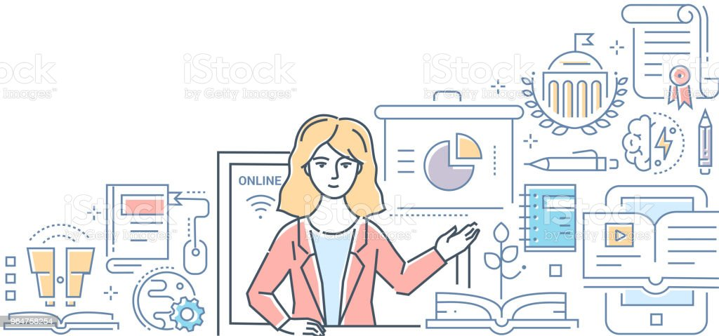 Online education - colorful line design style illustration royalty-free online education colorful line design style illustration stock vector art & more images of adult