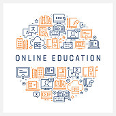 Online Education Concept - Colorful Line Icons, Arranged in Circle