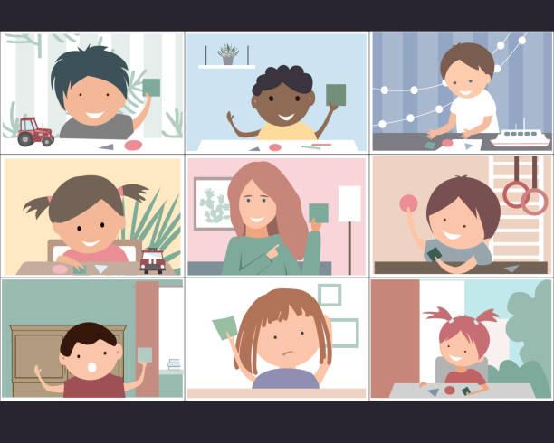 ilustrações, clipart, desenhos animados e ícones de conceito de educação online para creches. crianças e seu tutor aprendendo figuras geométricas. educação a distância de quarentena de coronavírus. fique em casa ilustração vetorial. - salas de aula