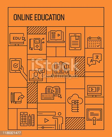 Online Education Concept. Geometric Retro Style Banner and Poster Concept with Online Education Line Icons