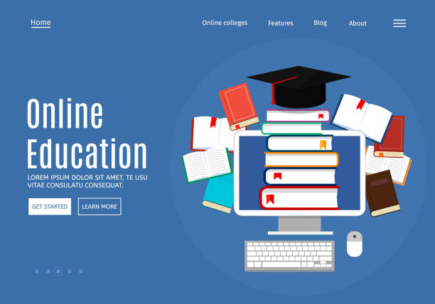 Online education concept, library and e-books. Web page design templates. Modern vector illustration for website. Eps 10. vector art illustration