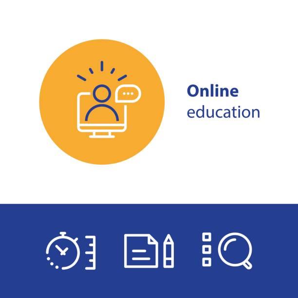 illustrazioni stock, clip art, cartoni animati e icone di tendenza di online education concept line icons, internet learning courses, distant studying - didattica a distanza