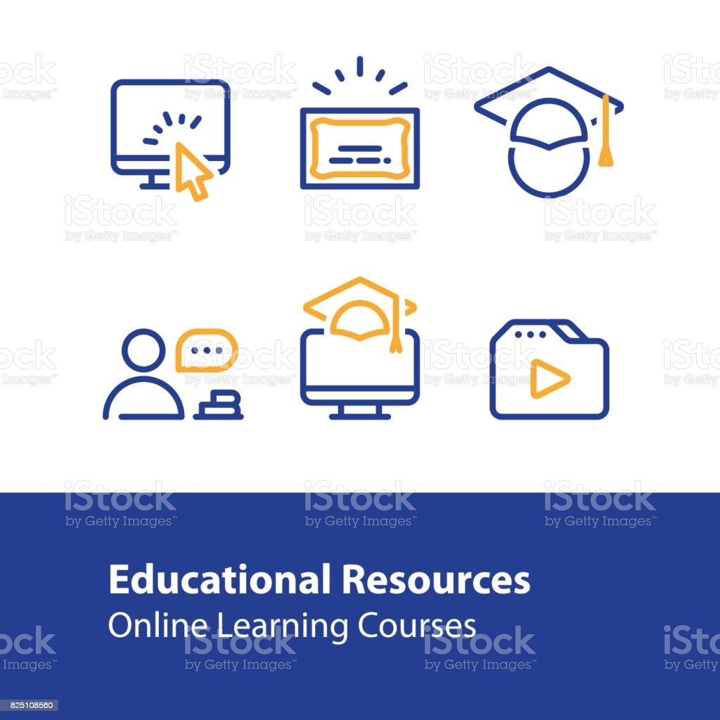 Online education concept line icons, internet learning courses, distant studying vector art illustration