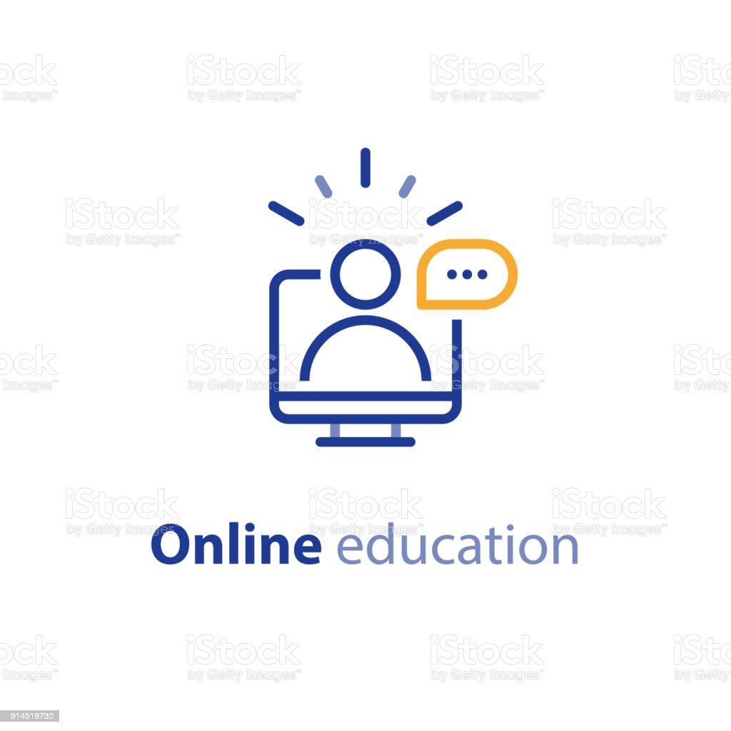 Estudio de educación en línea concepto línea iconos internet cursos, distante - ilustración de arte vectorial