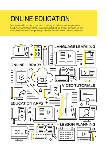 Online Education Concept Line Style Cover Design for Annual Report, Flyer, Brochure.