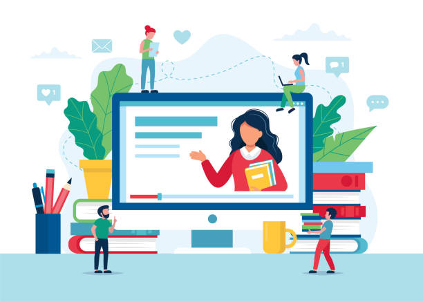 Online education concept, screen with teacher, books and pencils. Small people characters. Vector illustration in flat style vector art illustration