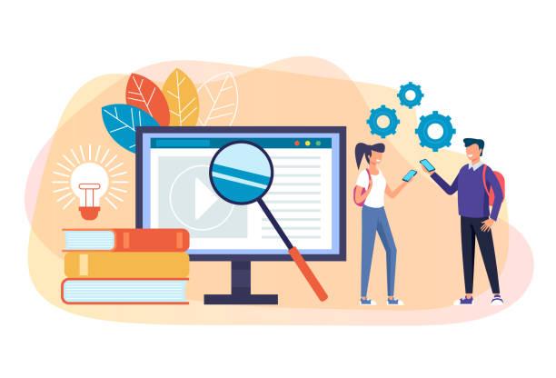 Online education concept. Vector flat cartoon graphic design isolated illustration vector art illustration