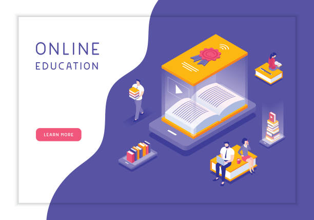 online education concept - e-learning not icons stock illustrations