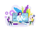 Vector illustration Online education or e-Learning concept. Online education concept banner with characters. Online training courses, specialization, university studies. Vector in flat style