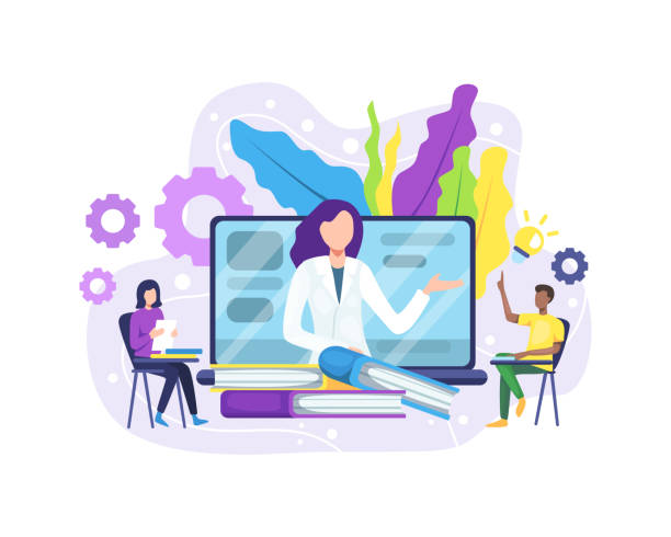 Online education concept Vector illustration Online education or e-Learning concept. Online education concept banner with characters. Online training courses, specialization, university studies. Vector in flat style showing stock illustrations