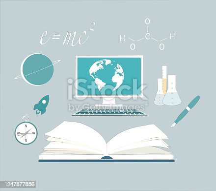 Computer device with book and education symbol.