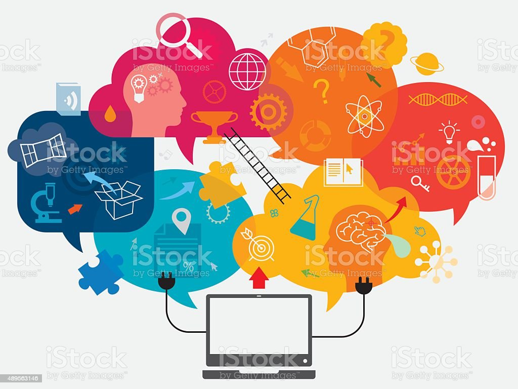 Online Education Concept vector art illustration