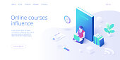Online education concept vector illustration in isometric design. Girl or woman using internet distance training and courses on learning or educational platform. Website layout template.