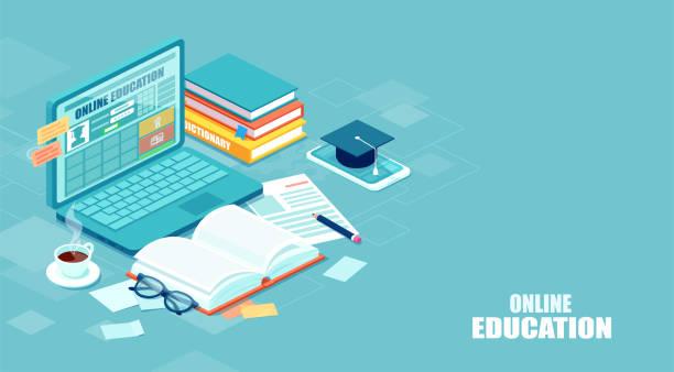 illustrazioni stock, clip art, cartoni animati e icone di tendenza di concetto di educazione online. vettore di una scrivania per studenti con laptop, libro, blocco note, studio remoto via internet - didattica a distanza