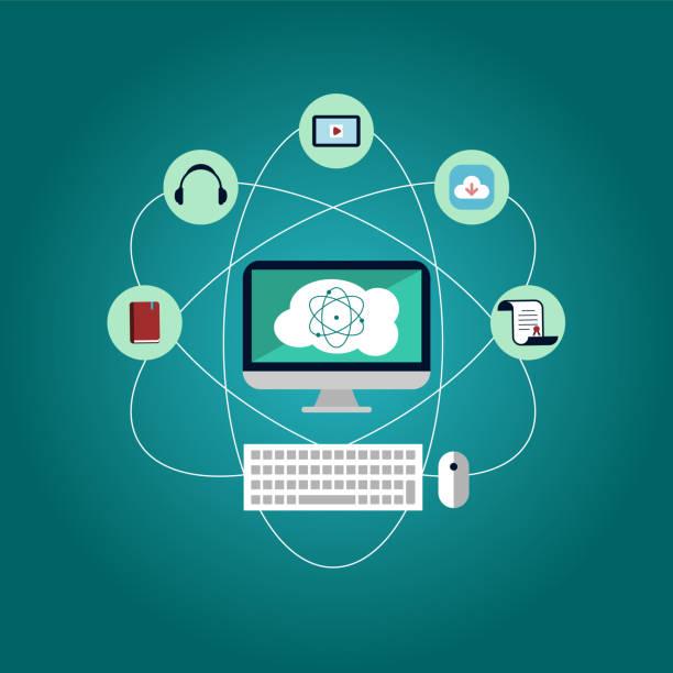 online-bildungskonzept mit atom- und bildungssymbolen. pc- und cloud-computing-möglichkeiten, herunterladen, lernen, hören, lesen. - abgeschiedenheit stock-grafiken, -clipart, -cartoons und -symbole