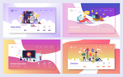 Online Education Course Landing Page Set. Distance Training Business Technology Abstract Design. Internet E-learning School Information Website or Web Page. Flat Cartoon Vector Illustration