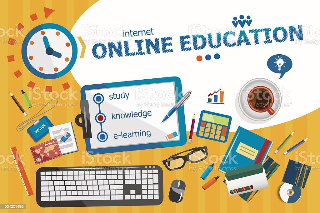 Online Education Design Concept Typographic Poster Stock ...