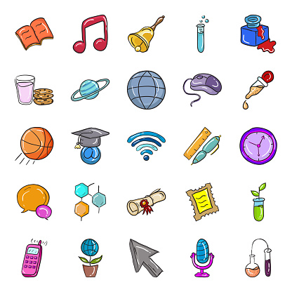Online Education Doodle Icons Pack
