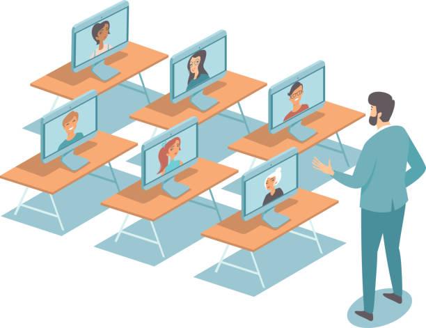 illustrazioni stock, clip art, cartoni animati e icone di tendenza di educazione online durante il concetto di epidemia di coronavirus covid-19 in quarantena - didattica a distanza