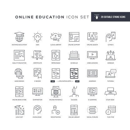 Online Education Editable Stroke Line Icons