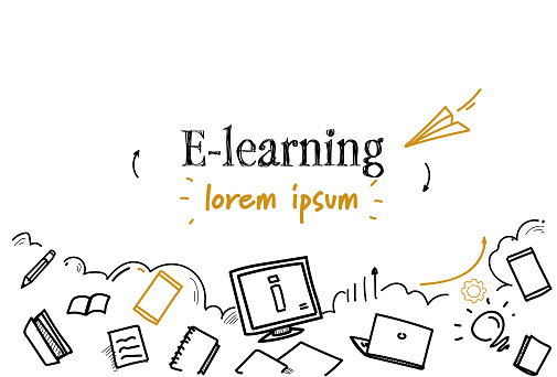online education e-learning concept sketch doodle horizontal isolated copy space