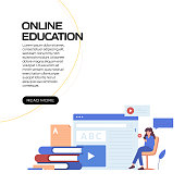 Online Education, E-Learning, Distance Education Concept Vector Illustration for Website Banner, Advertisement and Marketing Material, Online Advertising, Business Presentation etc.