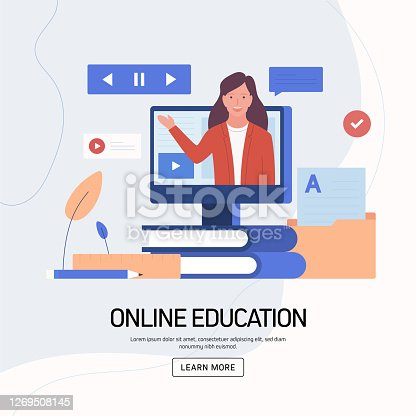 istock Online Education, E-Learning, Distance Education Concept Vector Illustration for Website Banner, Advertisement and Marketing Material, Online Advertising, Business Presentation etc. 1269508145