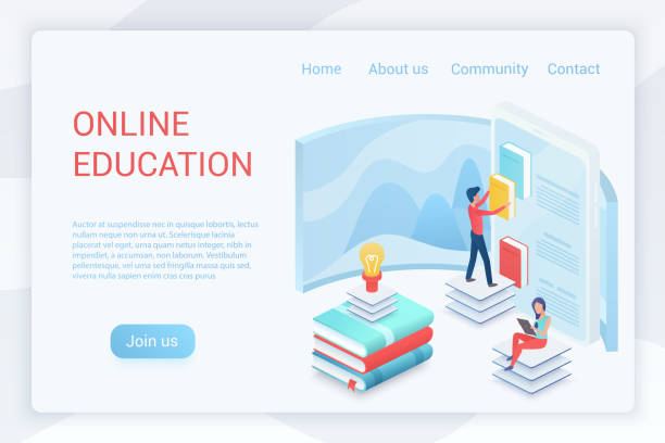 Online education, elearning isometric landing page vector template vector art illustration