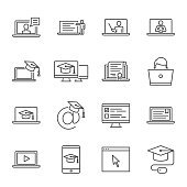 Online education, e-learning vector icons set
